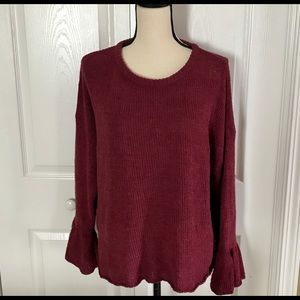 Knox Rose Wine Sweater with Bell Sleeves Small